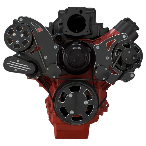 Black Diamond Chevy LS Serpentine Kit - AC & Power Steering, Electric Water Pump