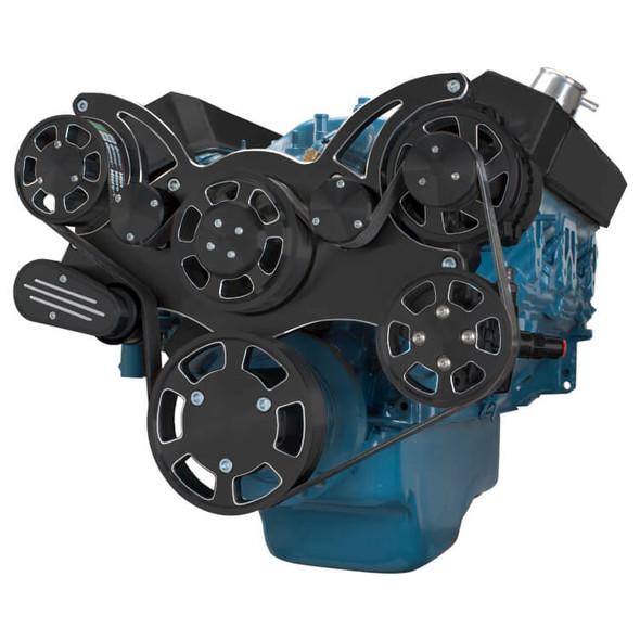Black Diamond Serpentine System for Small Block Mopar - Power Steering - All Inclusive