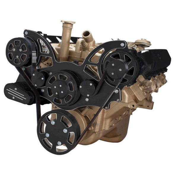 Black Diamond Serpentine System for Oldsmobile 350-455 - AC & Alternator - All Inclusive
