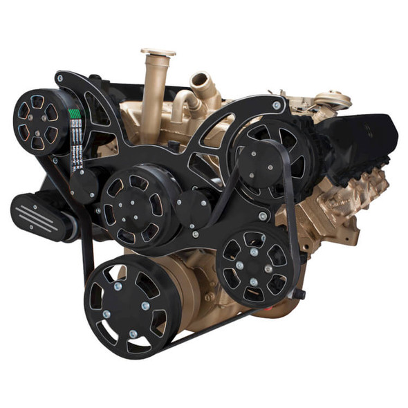 Black Diamond Serpentine System for Oldsmobile 350-455 - AC, Power Steering & Alternator - All Inclusive