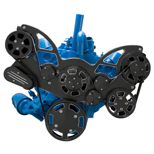 Black Diamond Serpentine System for AMC Jeep 304, 360 & 401 - AC, Power Steering & Alternator - All Inclusive
