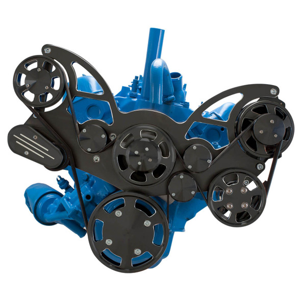 Black Diamond Serpentine System for AMC Jeep 304, 360 & 401 - Power Steering & Alternator - All Inclusive