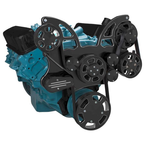 Black Diamond Pontiac Serpentine System for 350-400, 428 & 455 V8 - Power Steering - All Inclusive