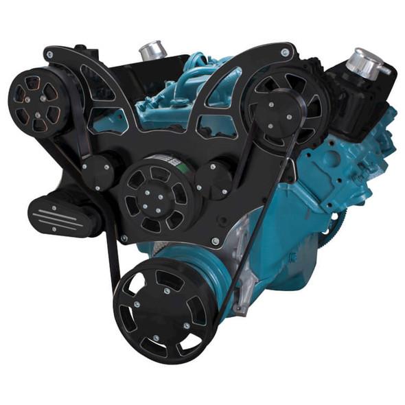 Black Diamond Pontiac Serpentine System for 350-400, 428 & 455 V8 - AC & Alternator - All Inclusive