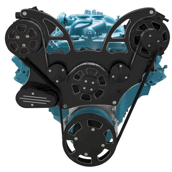 Black Diamond Pontiac Serpentine System for 350-400, 428 & 455 V8 - AC & Alternator - All Inclusive