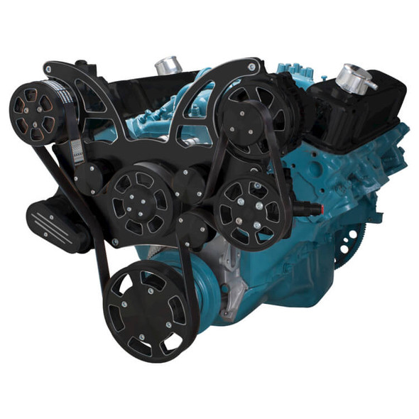 Black Diamond Pontiac Serpentine System for 350-400, 428 & 455 V8 - AC, Power Steering & Alternator - All Inclusive