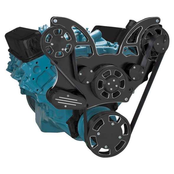 Black Diamond Pontiac Serpentine System for 350-400, 428 & 455 V8 - Alternator Only - All Inclusive
