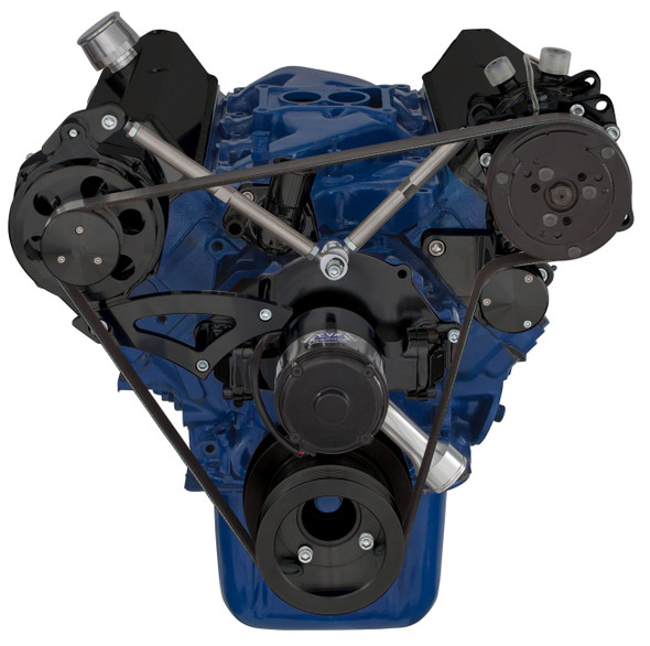 BLACK SMALL BLOCK FORD ACO SERPENTINE SYSTEM EWP FRONT SIDE VIEW