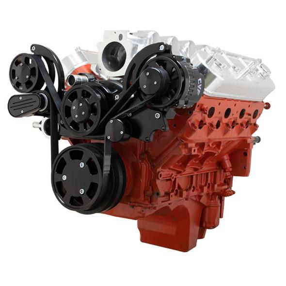 Black Chevy LS Mid Mount Engine Serpentine Kit - Alternator Only