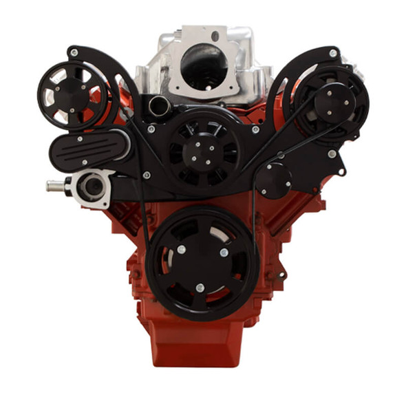 Black Chevy LS Mid Mount Engine Serpentine Kit - Alternator Only