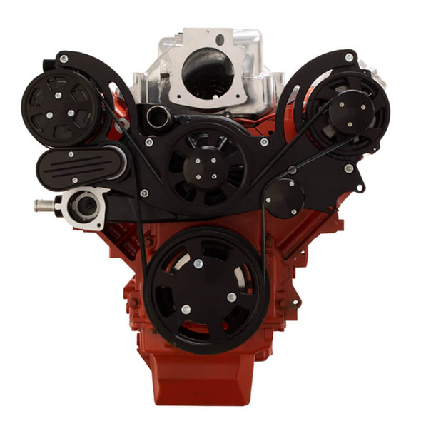 Black Chevy LS Engine Mid Mount Serpentine Kit - AC & Alternator