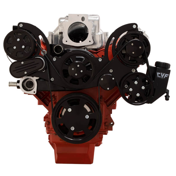 Black Chevy LS Engine Mid Mount Serpentine Kit - AC, Alternator & Power Steering
