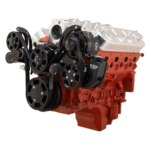 Stealth Black Chevy LS Mid Mount Serpentine Kit - Power Steering & Alternator