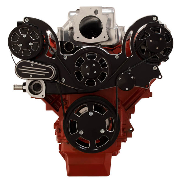 Black Diamond Chevy LS Engine Mid Mount Serpentine Kit - AC & Alternator