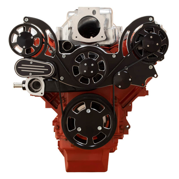 Black Diamond Chevy LS Engine Mid Mount Serpentine Kit - Alternator Only