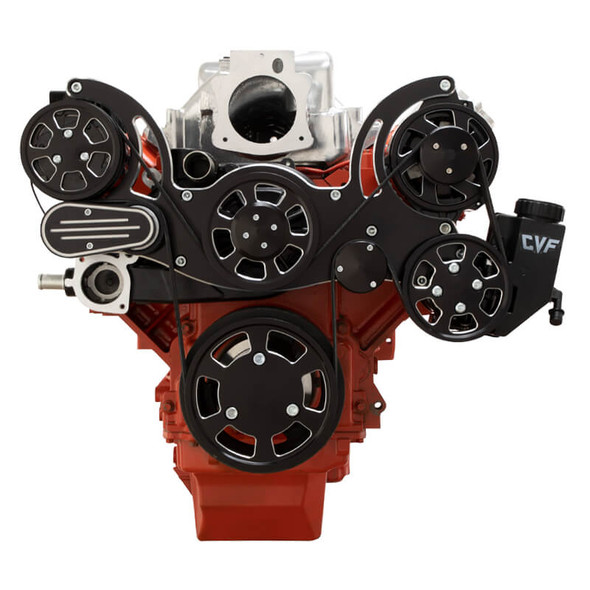 Black Diamond Chevy LS Engine Mid Mount Serpentine Kit - AC, Alternator & Power Steering