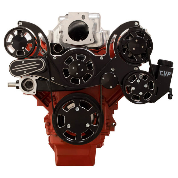 Black Diamond Chevy LS Mid Mount Serpentine Kit - Power Steering & Alternator