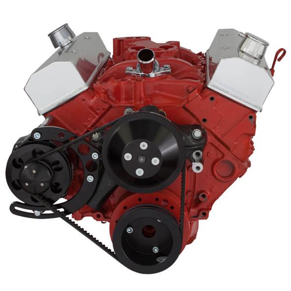 Stealth Black Chevy Small Block V-Belt System, Alternator Only - Long Water Pump