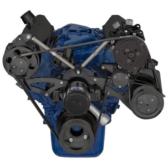 Stealth Black Ford 289-302-351W Serpentine Conversion Kit - AC, Alternator & Power Steering with Electric Water Pump
