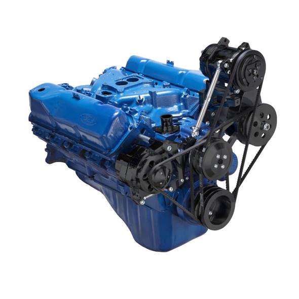 Stealth Black Ford 351C, 351M & 400 V-Belt System - AC, Alternator & Power Steering