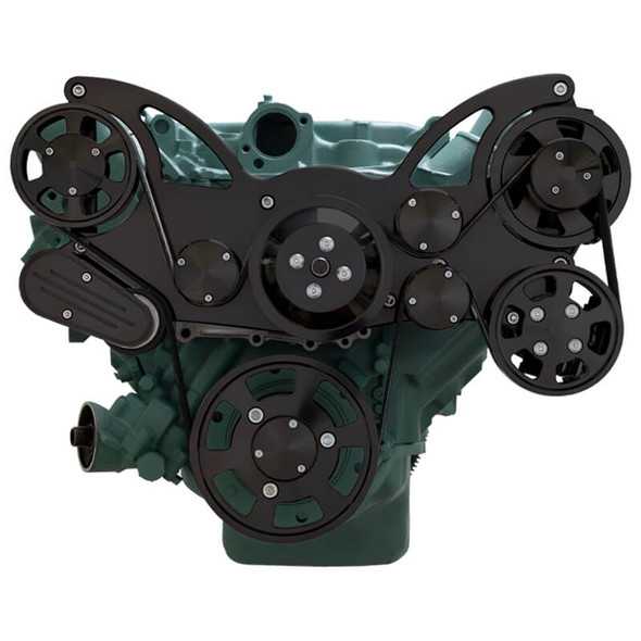 Stealth Black Serpentine System for Buick 455 - Power Steering & Alternator - All Inclusive