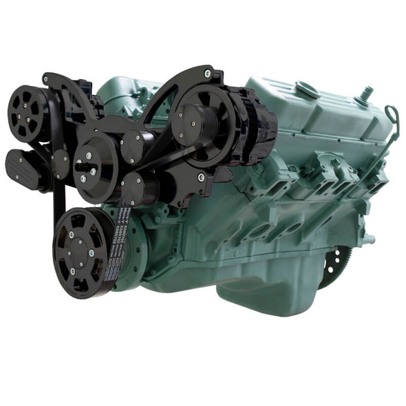 Stealth Black Serpentine System for Buick 455 - AC & Alternator - All Inclusive