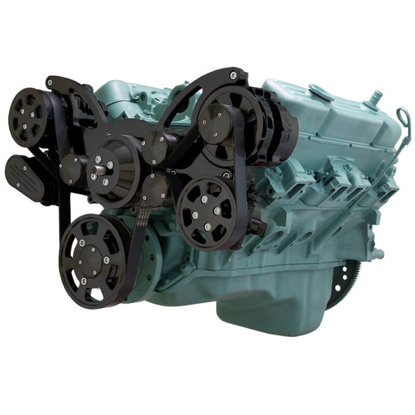 Stealth Black Serpentine System for Buick 455 - AC, Power Steering & Alternator - All Inclusive