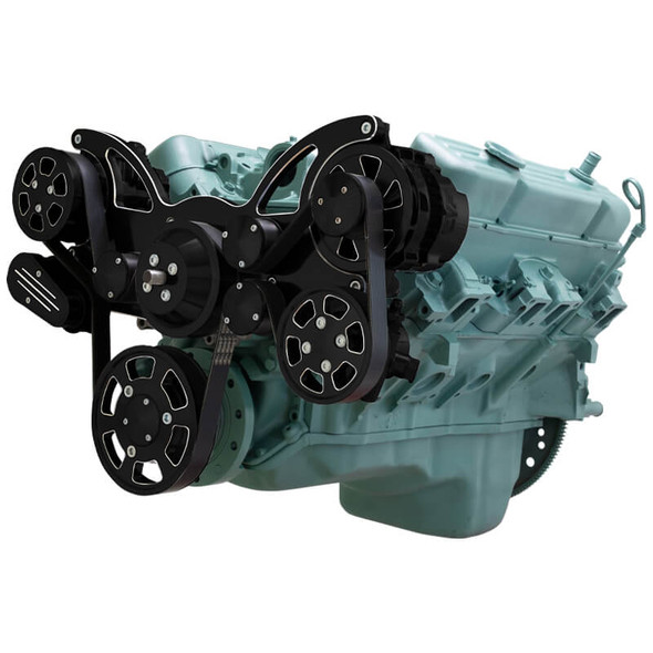Black Diamond Serpentine System for Buick 455 - AC, Power Steering & Alternator - All Inclusive