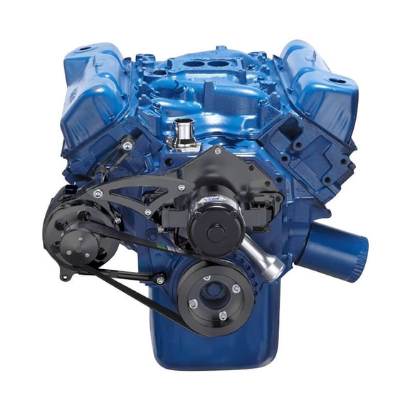 Stealth Black Ford 351C Serpentine System - Alternator Only, Electric Water Pump
