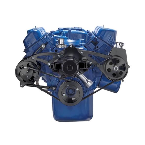 Stealth Black Ford 351C Serpentine System - Power Steering & Alternator, Electric Water Pump