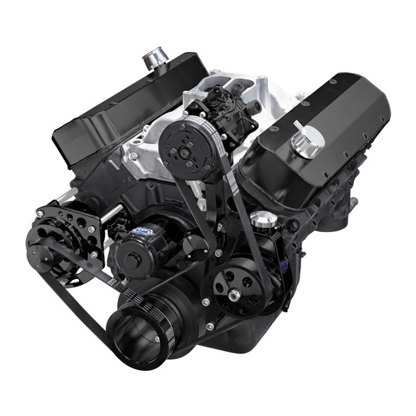 Black Chevy Big Block Gen. VI Serpentine Conversion Kit - AC, Alternator & Power Steering, Electric Water Pump