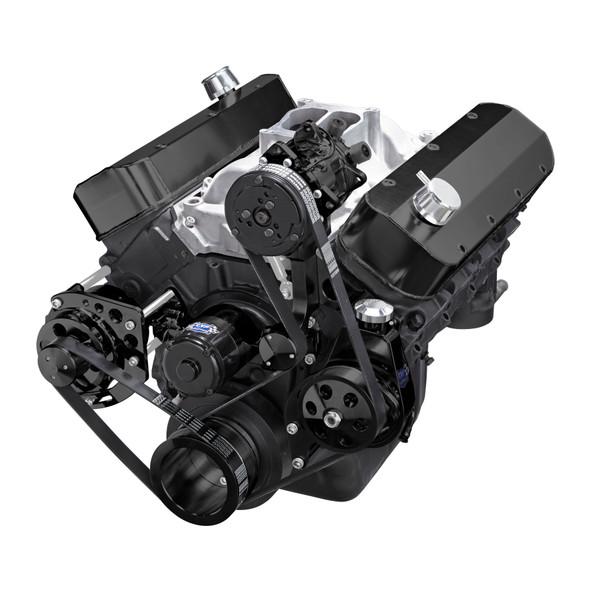 Black Chevy Big Block Gen. VI Serpentine Conversion Kit - AC, Alternator & Power Steering, Electric Water Pump