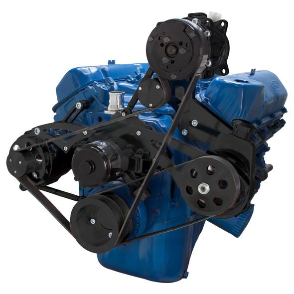 Black Ford 351C Serpentine System - AC, Power Steering & Alternator - EWP