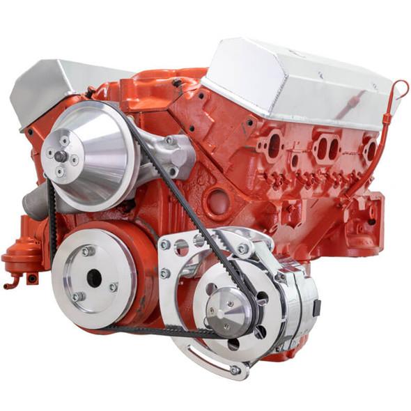 Small Block Chevy 327 & 350 V-Belt Kit - SWP, Low Driver's Side Alternator