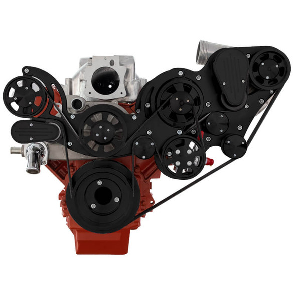 Stealth Black Chevy LS Mid Mount Serpentine Kit - ProCharger - Power Steering & Alternator