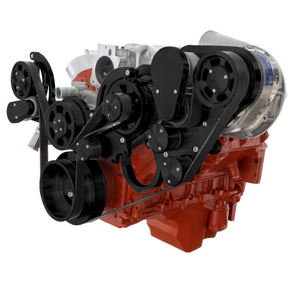 Black Chevy LS Mid Mount Engine Serpentine Kit - ProCharger - Alternator Only