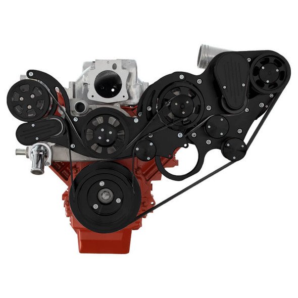 Black Chevy LS Engine Mid Mount Serpentine Kit - ProCharger - AC & Alternator