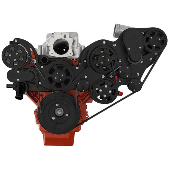 Stealth Black Chevy LS Engine Mid Mount Serpentine Kit - ProCharger - AC, Alternator & Power Steering