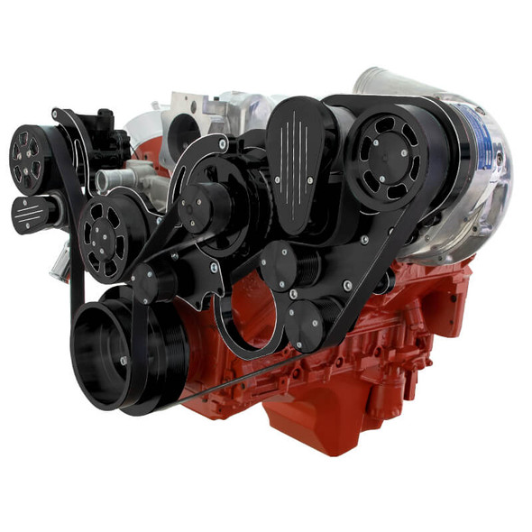 Black Diamond Chevy LS Engine Mid Mount Serpentine Kit - ProCharger - AC & Alternator