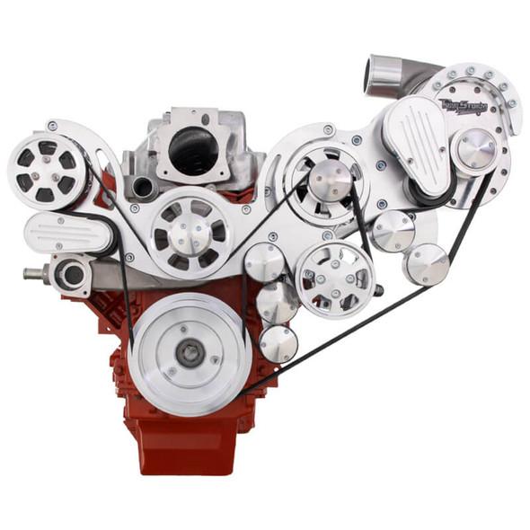 Chevy LS Engine Mid Mount Serpentine Kit - TorqStorm - AC, Alternator & Power Steering