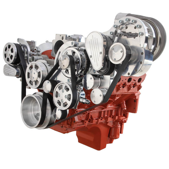 Chevy LS Engine Mid Mount Serpentine Kit - TorqStorm - AC, Alternator & Power Steering
