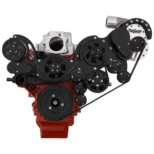 Black Chevy LS Engine Mid Mount Serpentine Kit - TorqStorm - AC, Alternator & Power Steering