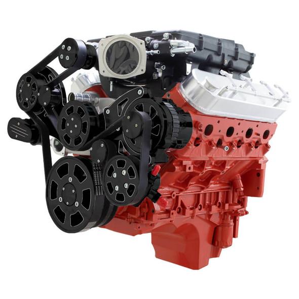 Black Diamond Chevy LS Serpentine Kit - Edelbrock - Power Steering & Alternator