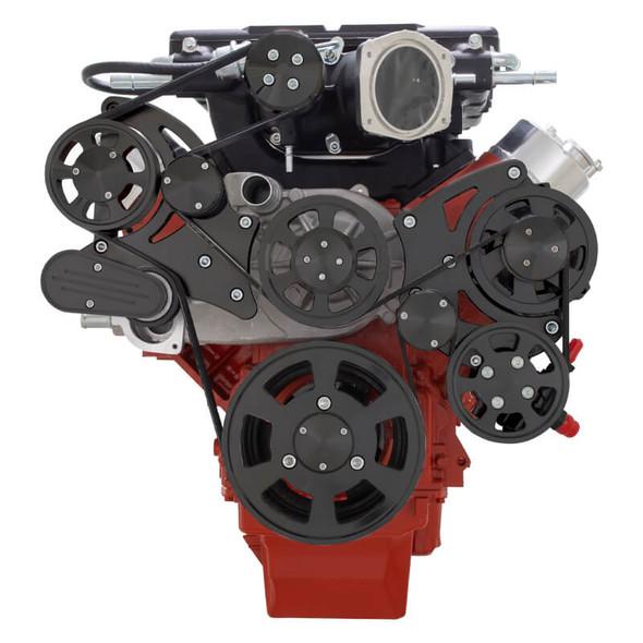 Stealth Black Chevy LS Serpentine Kit - Edelbrock - Power Steering & Alternator