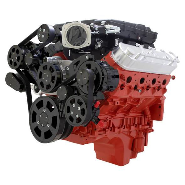 Stealth Black Chevy LS Serpentine Kit - Edelbrock - AC & Power Steering