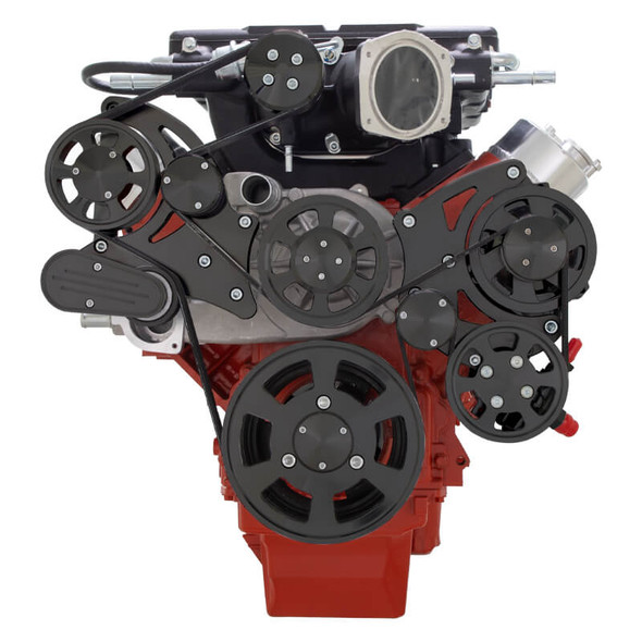 Stealth Black Chevy LS Serpentine Kit - Whipple - Power Steering & Alternator