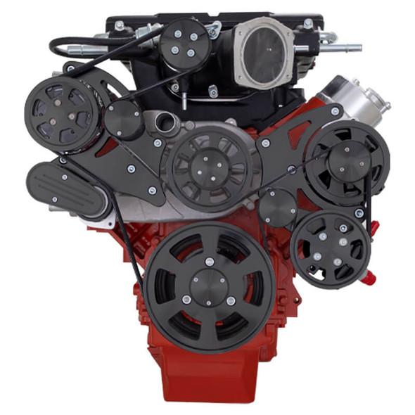 Stealth Black Chevy LS Serpentine Kit - Magnuson - AC & Power Steering