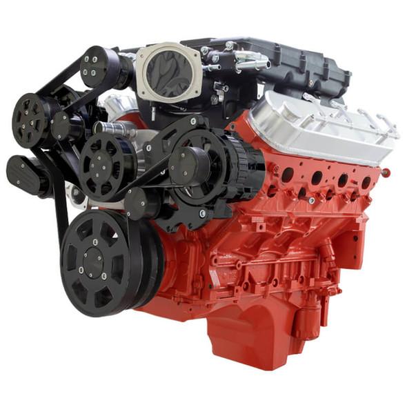 Stealth Black Chevy LS Serpentine Kit - Magnuson - AC & Alternator