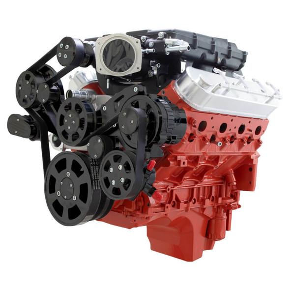 Stealth Black Chevy LS Serpentine Kit - Magnuson - Power Steering & Alternator