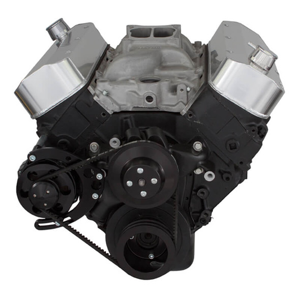 Black Chevy Big Block V-Belt System - Alternator Only